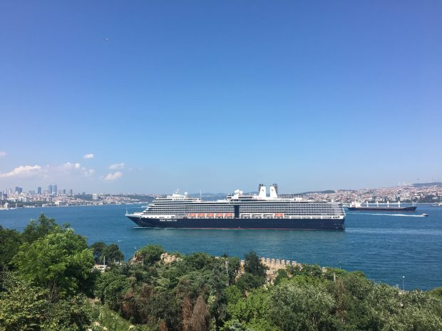 Seen from Topkapi Palace, a Holland America cruise ship prepares to dock in Istanbul. Many cruise lines stopped calling at the city this year because of security concerns. (Photo by Laura Bly)